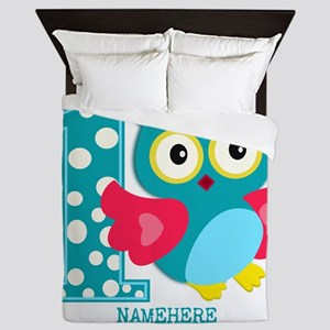 Cute First Birthday Owl Queen Duvet