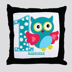 Cute First Birthday Owl Throw Pillow