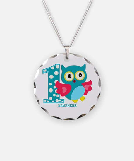 Cute First Birthday Owl Necklace Circle Charm