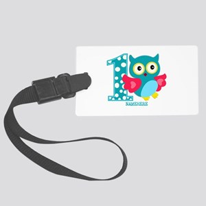 Cute First Birthday Owl Large Luggage Tag