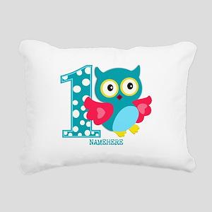 Cute First Birthday Owl Rectangular Canvas Pillow