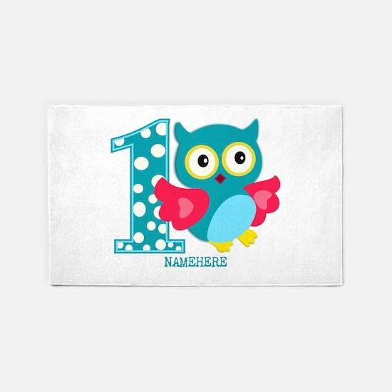 Cute First Birthday Owl 3'x5' Area Rug