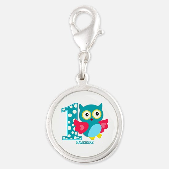 Cute First Birthday Owl Silver Round Charm