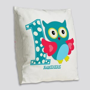 Cute First Birthday Owl Burlap Throw Pillow
