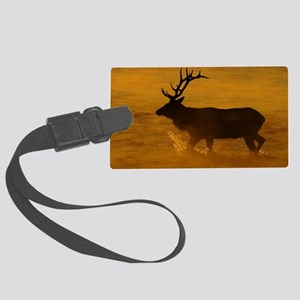 Bull Elk at Sunrise Large Luggage Tag