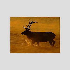 Bull Elk at Sunrise 5'x7'Area Rug