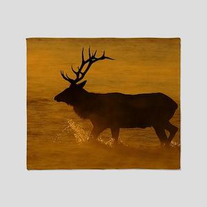 Bull Elk at Sunrise Throw Blanket