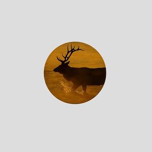Bull Elk at Sunrise Mini Button