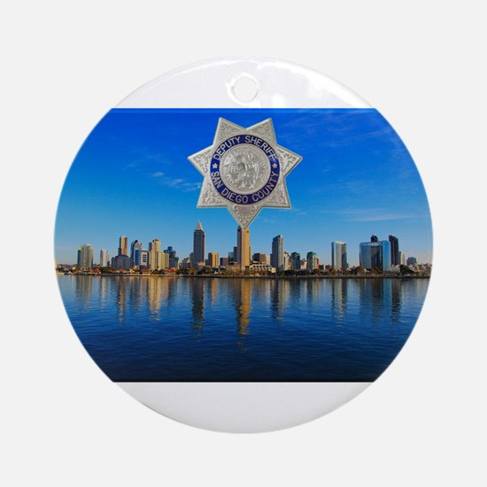 San Diego Sheriff Skyline Ornament (Round)