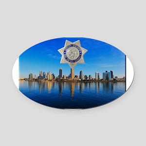 San Diego Sheriff Skyline Oval Car Magnet