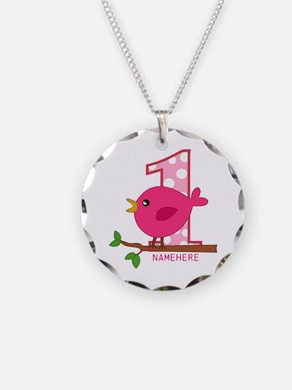 Custom Name Pink Birdie Necklace Circle Charm
