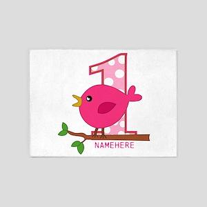Custom Name Pink Birdie 5'x7'Area Rug