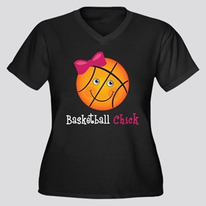 BasketballCh Women's Plus Size Dark V-Neck T-Shirt