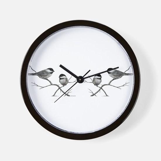 chickadee birds Wall Clock