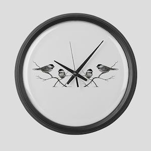 chickadee birds Large Wall Clock