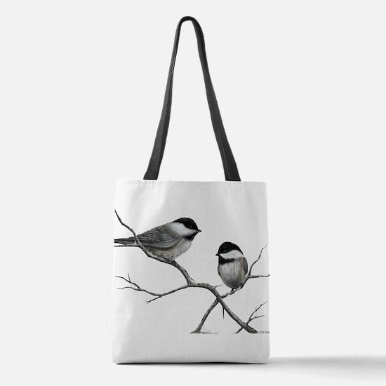 chickadee song bird Polyester Tote Bag