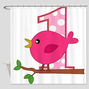 First Birthday Birdie Shower Curtain