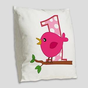 First Birthday Birdie Burlap Throw Pillow