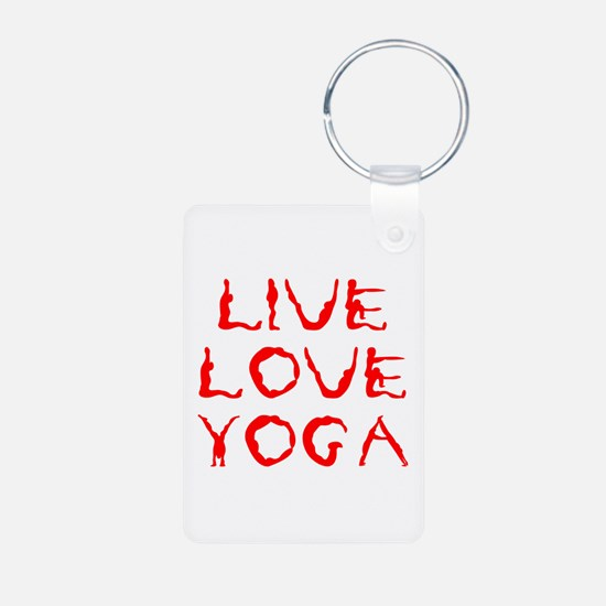 LIVE-LOVE-YOGA-yoga-red Keychains