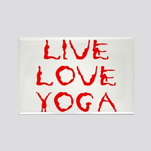 LIVE-LOVE-YOGA-yoga-red Rectangle Magnet