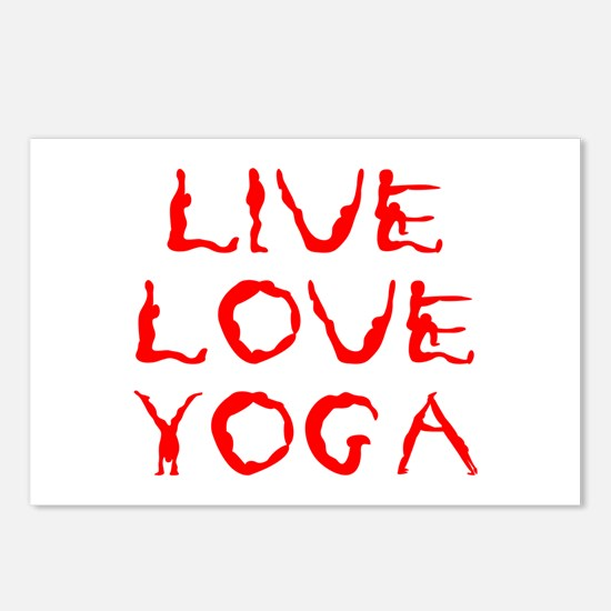 LIVE-LOVE-YOGA-yoga-red Postcards (Package of 8)