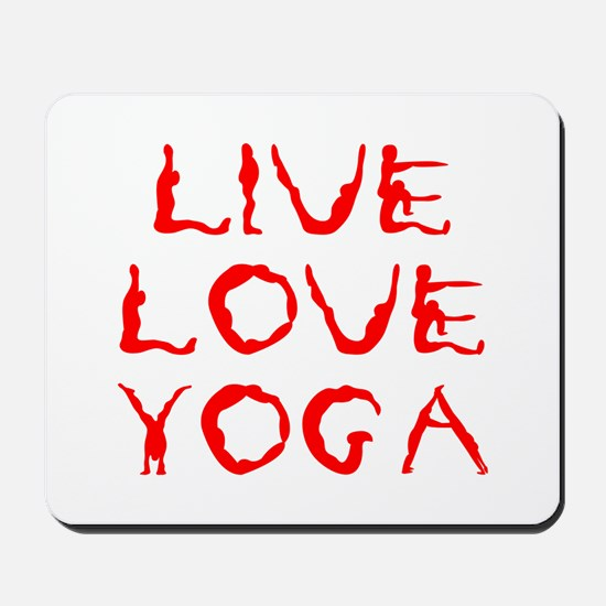 LIVE-LOVE-YOGA-yoga-red Mousepad
