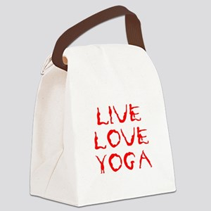 LIVE-LOVE-YOGA-yoga-red Canvas Lunch Bag