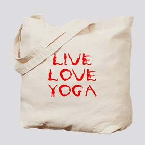 LIVE-LOVE-YOGA-yoga-red Tote Bag