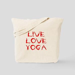 LIVE-LOVE-YOGA-yoga-red Tote Bag