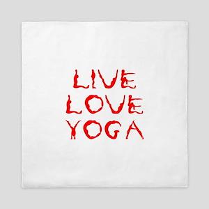 LIVE-LOVE-YOGA-yoga-red Queen Duvet