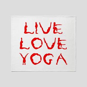 LIVE-LOVE-YOGA-yoga-red Throw Blanket
