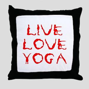 LIVE-LOVE-YOGA-yoga-red Throw Pillow