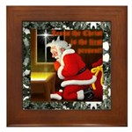 'Santa knelt' Framed Tile