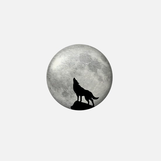 Howling Wolf Full Moon Mini Button