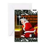 'Santa knelt' Christmas Cards (Pk of 10)