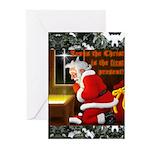 'Santa knelt' Christmas Cards (Pk of 10)