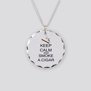Keep Calm And Smoke A Cigar Necklace Circle Charm