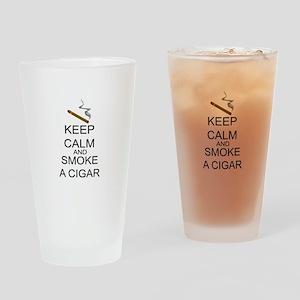Keep Calm And Smoke A Cigar Drinking Glass