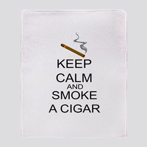 Keep Calm And Smoke A Cigar Throw Blanket