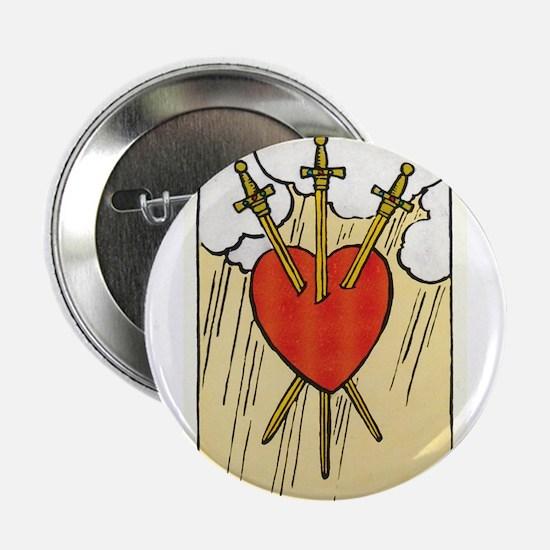 "TAROT CARD Three of Swords 2.25"" Button"