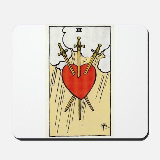 TAROT CARD Three of Swords Mousepad