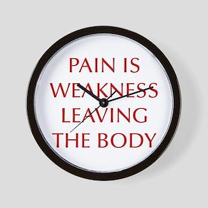 pain-is-weakness-opt-dark-red Wall Clock