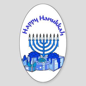 happy hanukkah Oval Sticker