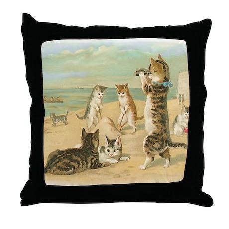 Beach Kittens Throw Pillow