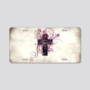 Cross of Grace Aluminum License Plate