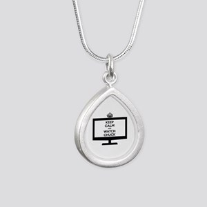Keep Calm and Watch Chuck Silver Teardrop Necklace