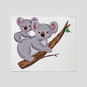 Koala and Baby on Eucalyptus Tree Br Throw Blanket
