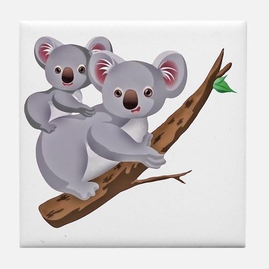 Koala and Baby on Eucalyptus Tree Bra Tile Coaster