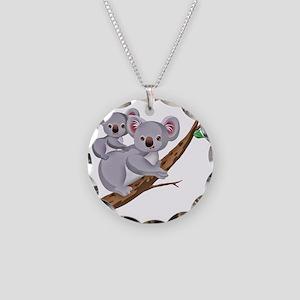 Koala and Baby on Eucalyptus Necklace Circle Charm