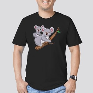 Koala and Baby on Euca Men's Fitted T-Shirt (dark)